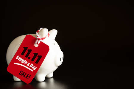 Online shopping of China, 11.11 single day sale concept. Red ticket 11.11 single day sale tag hanging with piggy bank.