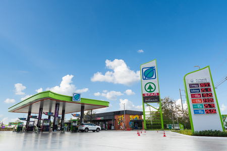 Nakhon Ratchasima, Thailand - December 28, 2018: Bangchak gas station with blue sky background.