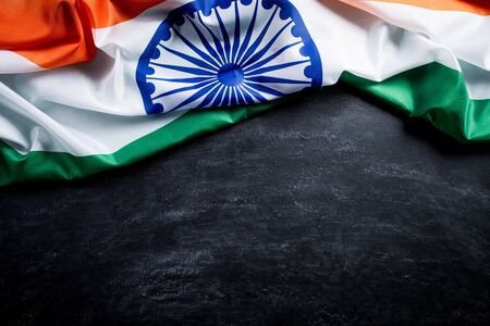 Top view of National Flag of India on blackboard background. Indian Independence Day. Reklamní fotografie