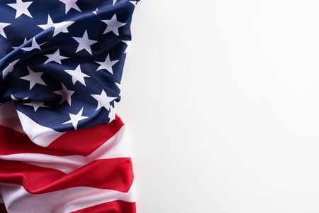 Happy Veterans Day. American flags against a white background.