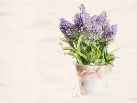Watercolor painting Beautiful purple wildflowers bouquet in vase with copyspace for text. illustration.