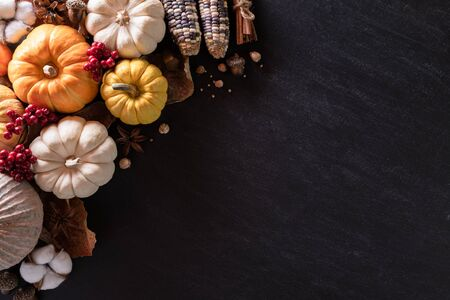 Top view of  Autumn maple leaves with Pumpkin and red berries on black wooden background. Thanksgiving day concept.