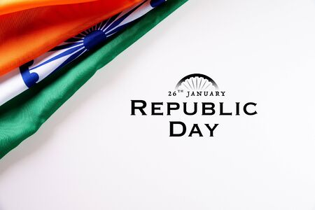 Indian republic day concept. Indian flag with the text Happy republic day against a white background. 26 January.