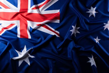 Concept de jour de l'Australie. Drapeau australien avec le texte Happy Australia day sur fond de tableau noir. 26 janvier. Banque d'images