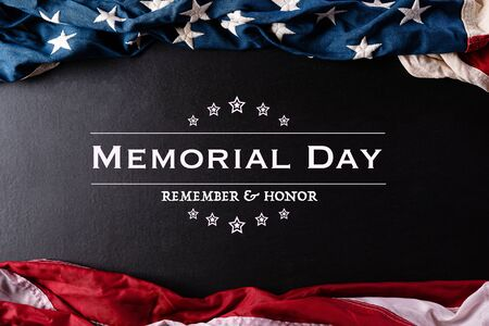 Happy Memorial Day. American flags with the text REMEMBER & HONOR against a black background.