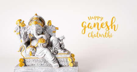 Happy Ganesh Chaturthi festival, Lord Ganesha statue with beautiful texture on white background, Ganesh is hindu god of Success. Stockfoto