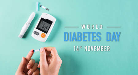 World diabetes day awareness concept. The diabetic measures the level of glucose in the blood, 14 November.