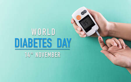 Healthcare and medical concept, The diabetic measures the level of glucose in the blood. World Diabetes day, 14 November. Stock Photo