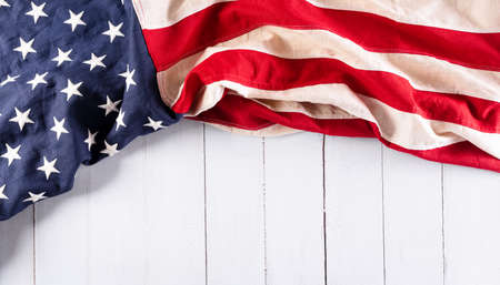 Happy Independence day: 4th of July, American flag on white wooden background Stockfoto