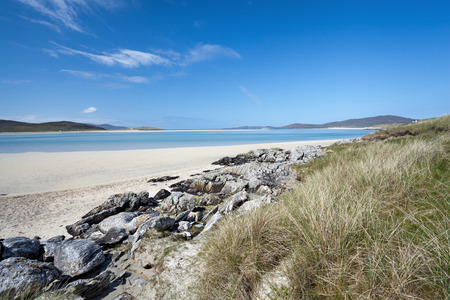 unspoilt: Sandy beach of Luskentyre, Isle of Harris, Outer Hebrides, Scotland A tranquil unspoilt shell sand bay
