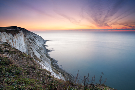 seven sisters: Seven Sisters white cliffs at dawn Stock Photo