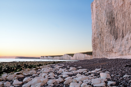 seven sisters: Seven Sisters chalk cliffs at sunset light