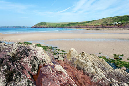 tenby wales: Scenery along Pembrokeshire Coast National Park, West Wales Stock Photo