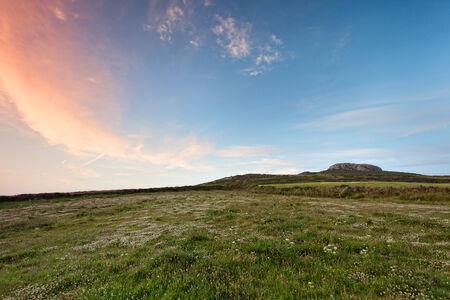 pembrokeshire: Carn Llidi, Pembrokeshire green hill at sunset