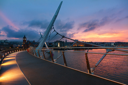 Derry Peace bridge at sunset