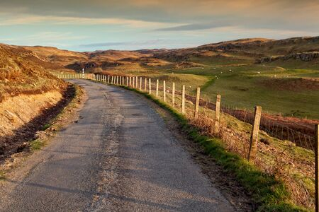mull: Isle of Mull, country road at sunset
