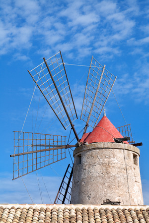 trapani: Old windmill on Trapani saltern Stock Photo