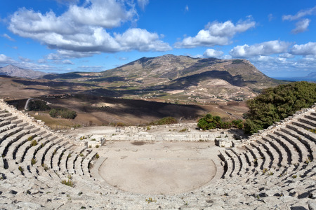 segesta: Ancient greek theater of Segesta, Sicily Stock Photo