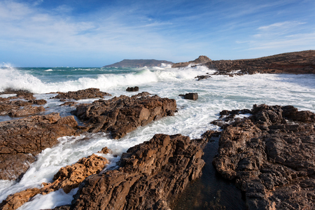 egadi: Rough seas along rocky coast of Favignana, Egadi Islands, Sicily