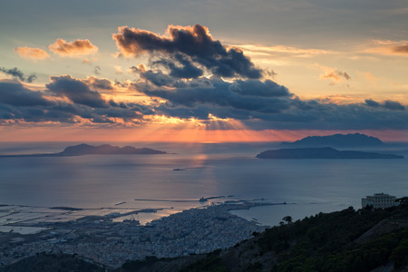 egadi: View from Erice and Trapani over Egadi islands at sunset