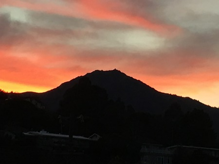 marin: orange sky sunset Mt. Tamalpais in Marin County Stock Photo
