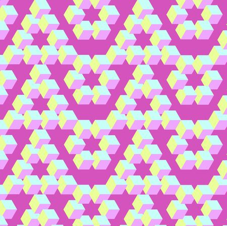 Bright pinkie background pattern with optical illusion impossible objects Vectores