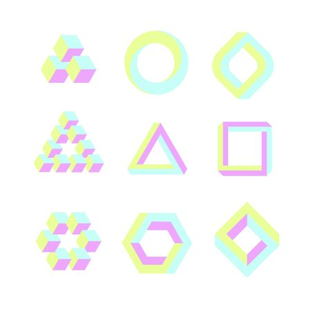 Optical illusion geometric objects, impossible shapes in soft, pastel colors