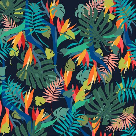 Elegant, tropical and floral spring-summer jungle pattern with colibri, humming bird for interior, wallpaper in vector, poster, print