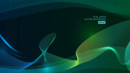Blue green abstract lines vector background Illustration