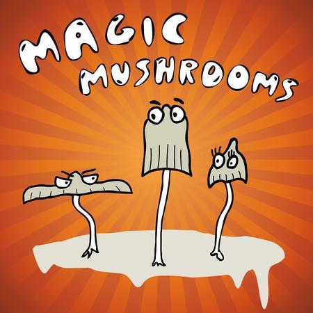 Handrawing magic mushrooms