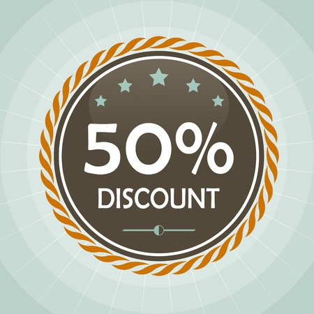 vintage 50 percent discount label icon
