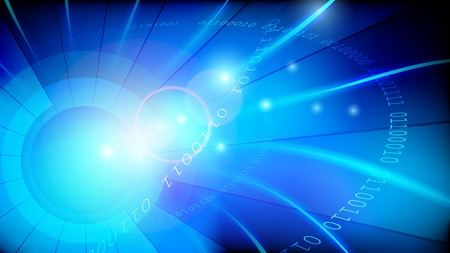 Blue data lights transfer vector abstract background