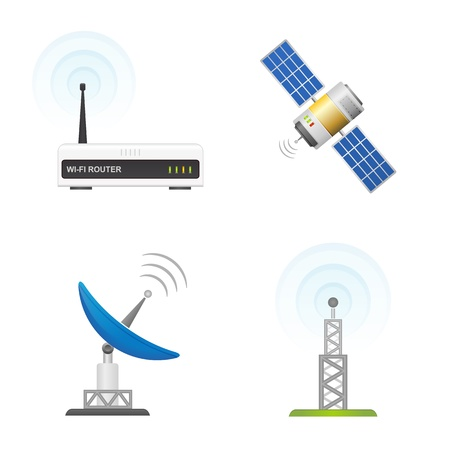 Wireless Technology and Global communication icons  Vector