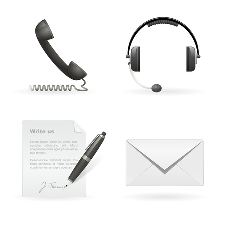 Set of business contact isolated icons Vector