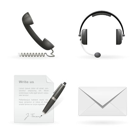 hotline: Set van Business Contact geïsoleerde pictogrammen Stock Illustratie