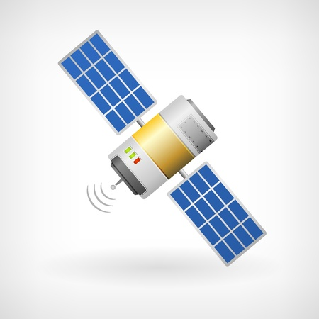 launched: Isolated communication satellite icon with solar cells