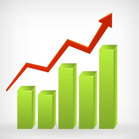 Bar glanzende 3d grafiek positieve pijl