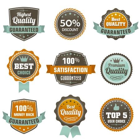 Vintage labels set - premium qaulitty guaranteed, best chois, 50  discount, etc  Vector design elements