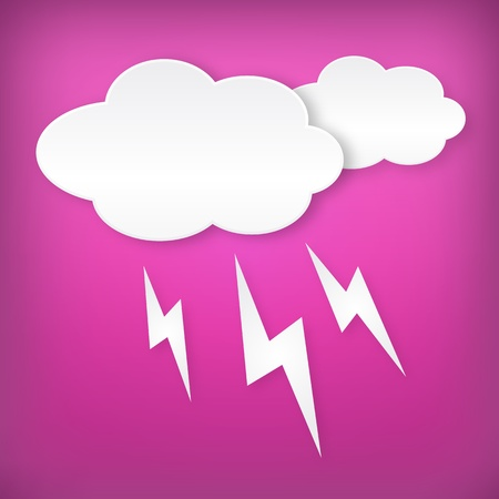Paper white lightning clouds width on blue background  Isollated from background  Layered  Weather icon  Vector