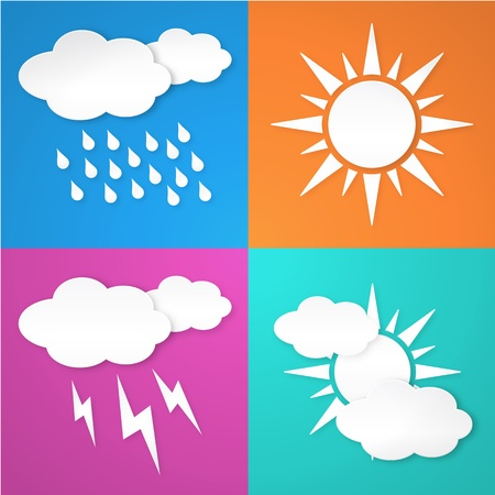 Paper white weather icon on colorful background  Isolated from background  Layered