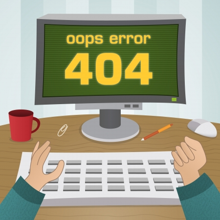 man using computer: 404 page not found error  User width computer monitor screen