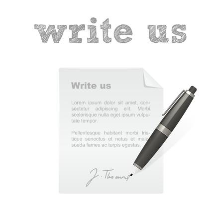 Schrijf ons geïsoleerde pen en brief vector icon