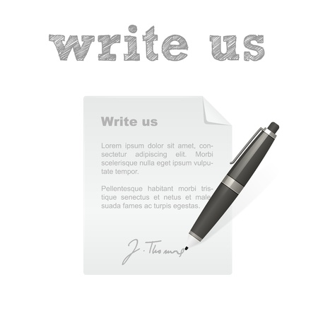 write us: Write us pen and letter isolated vector icon