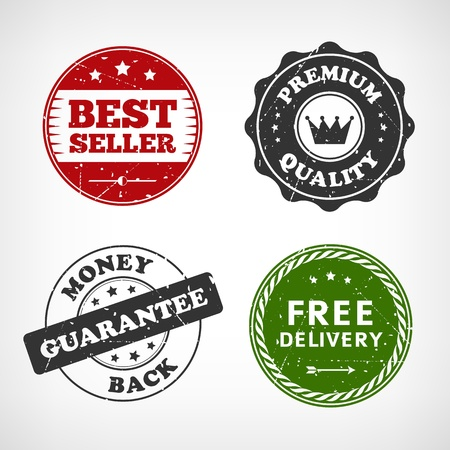 approval button: Set of vintage quality stamps isolated from background  Vector illustration  Layered   Illustration