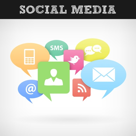 Internet social media concept  Isolated from background  Each icon in separately folder Stock Vector - 19656315