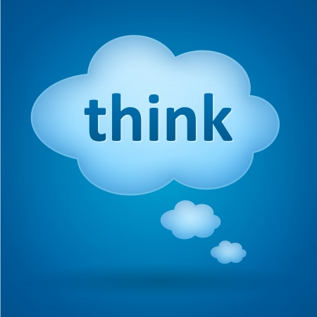 Think speech bubble on blue background  Vector illustration isolated from background   向量圖像