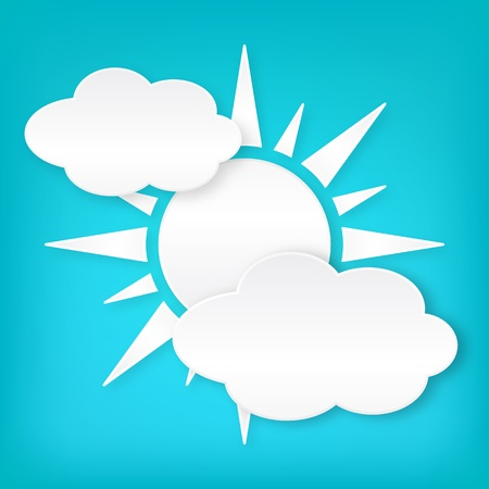 Paper white sun width clouds on blue background  Isolated from background  Layered Stock Vector - 19656319