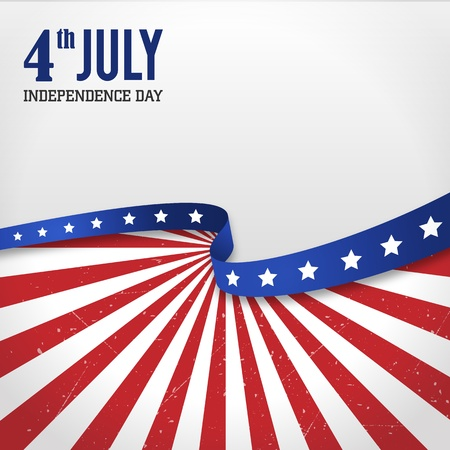 american flag background: Vintage independence day poster illustration  Layered