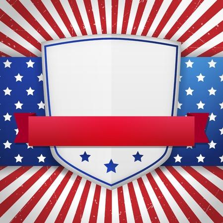 Vintage American independence shield illustration  layered  Illustration