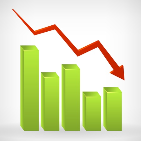descending: Business down shiny chart width negative arrow  illustration  Isolated from background